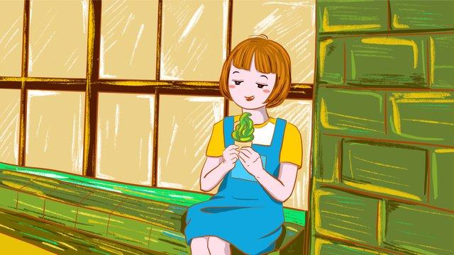 Original summer girl eating ice cream fresh illustration, Original, Summer, Summer illustration image