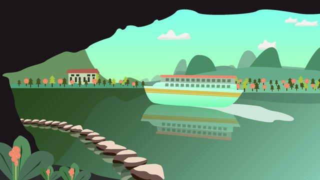 원래 관광 도시 풍경 계 림 그림 삽화 소재 삽화 이미지