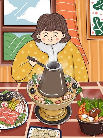 Original winter food delicious hot pot cartoon illustration, Original, Winter Food, Food illustration image