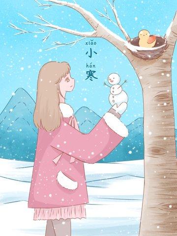 축제 차가운 신선한 수채화 그림 눈에 작은 눈사람을 들고 소녀 삽화 소재