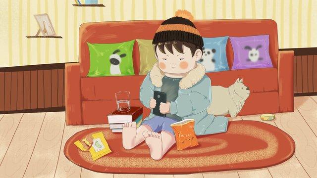 팻 하우스 겨울 행복한 삶 삽화 소재 삽화 이미지