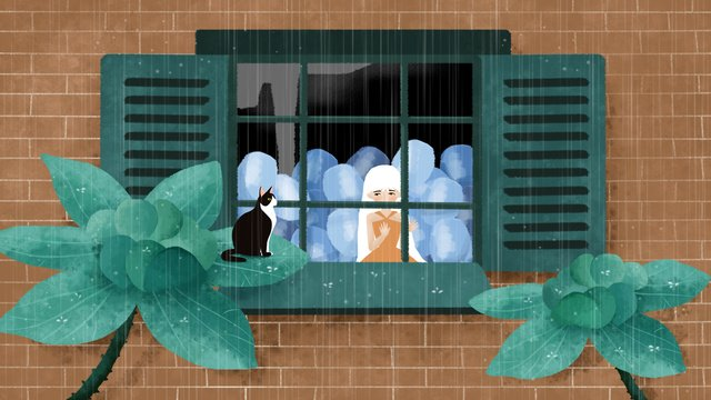 original illustration of a girl looking out the window on rainy day llustration image illustration image