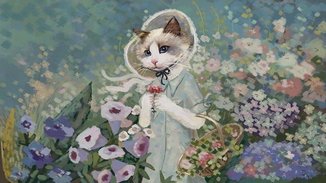 油絵の美しさとロマンチックさをまねる小清新猫花園イラスト イラスト素材 イラスト画像