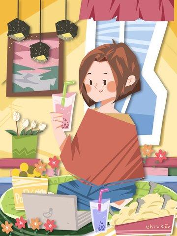cắt giấy gió nhà hạnh phúc mùa đông năm mới sữa trà khoai tây chiên phẳng Hình minh họa