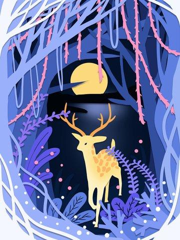rừng xanh tươi và giấy hươu cắt gió minh họa Hình minh họa
