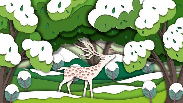 floresta minimalista de vento corte papel com ilustração veado Material de ilustração