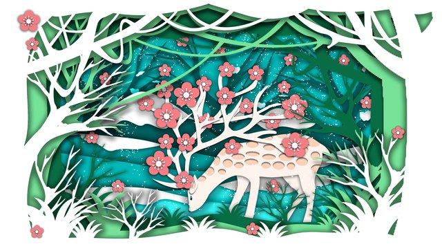 rừng cắt giấy tối giản với hình minh họa hươu Hình minh họa