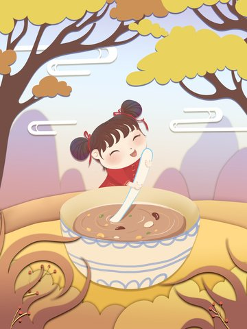 laba festival paper cut wind girl fai porridge gradient flat illustration psd Immagine dell'illustrazione