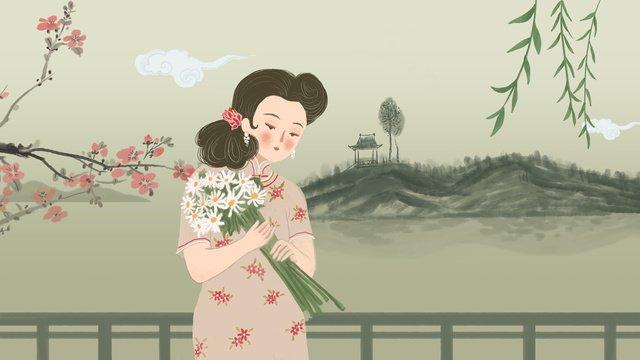 桃の花は柳の葉をつけて水墨の背景のチャイナドレスの女子の花をささげ持ちます イラスト素材 イラスト画像