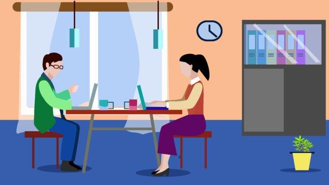 工作中的人場景扁平風格插畫 插畫素材 插畫圖片