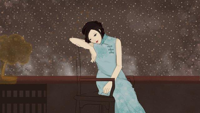 Chinese style illustration of a cheongsam woman listening to phonograph, Phonograph, Cheongsam, Woman illustration image