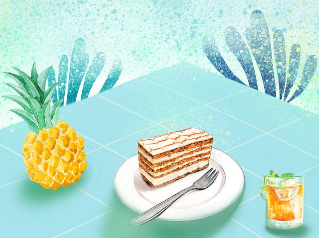 Summer meal is small and fresh, Pineapple, Pastry, Drink illustration image