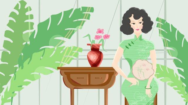 Fan green cheongsam woman, Plant, Cheongsam, Republic Of China illustration image