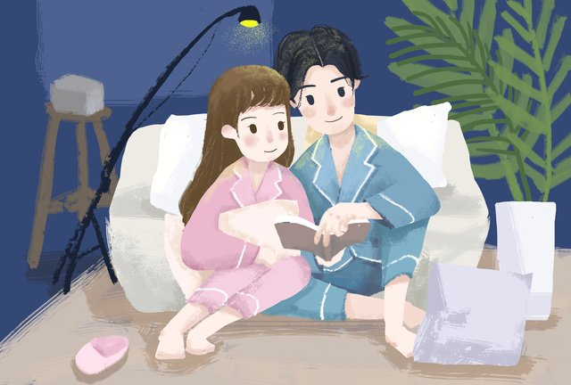 tanabata festival night couple reading a book at home romantic small fresh original illustration llustration image illustration image