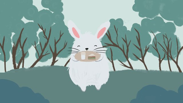 Hello good morning illustration, Rabbit, Cartoon Bunny, Rabbit illustration image