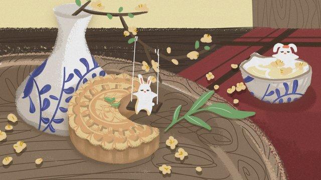 Tết trung thu thỏThỏ  Bánh  Trung PNG Và PSD illustration image