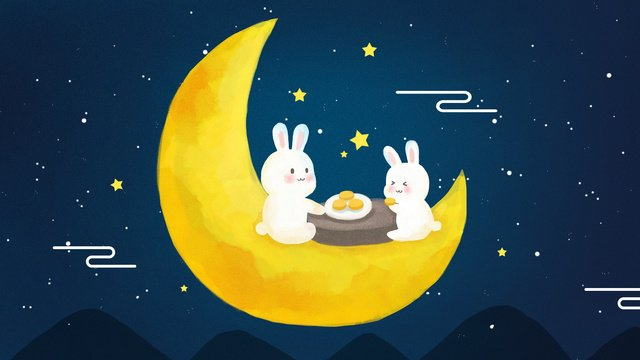 chinese traditional mid autumn festival moon cake jade rabbit night hand drawn illustration llustration image illustration image