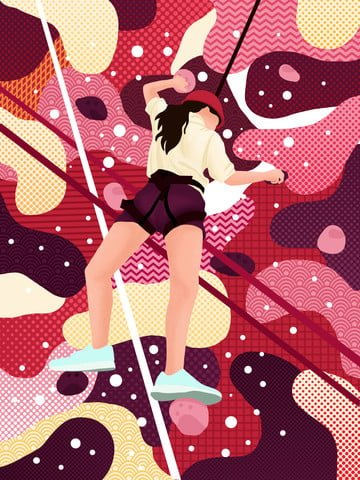 Red wandering dream sport girl rock climbing abstract illustration illustration image