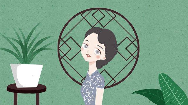 窓の前でチャイナドレスの女性中華民国  チャイナドレス  チャイナドレスの女性 PNGおよびPSD illustration image