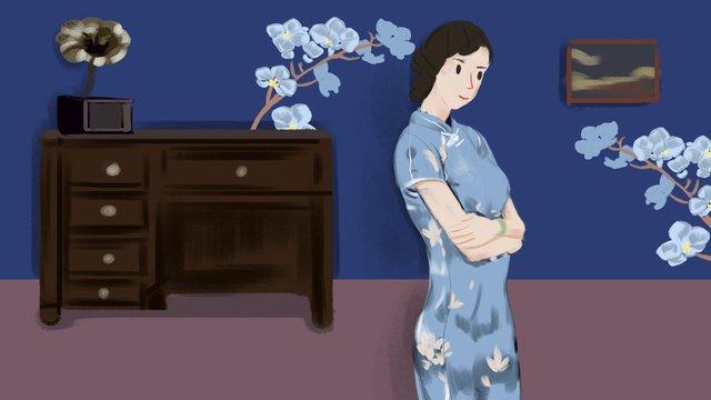 republic of china blue cheongsam woman illustration llustration image