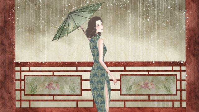 republic of china retro cheongsam holding a paper umbrella girl llustration image illustration image
