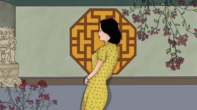 Republic of china style cheongsam woman ancient charm characteristics national, Republic Of China, Cheongsam Woman, Characteristic Ancient Rhyme illustration image
