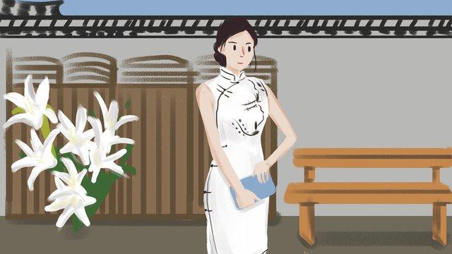 republic of china white cheongsam woman illustration llustration image