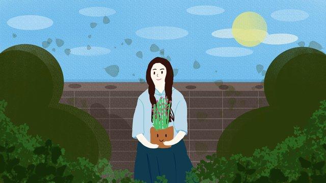 작은 신선한 공화국 태양 꽃 소녀 그림을 들고 아래 삽화 소재