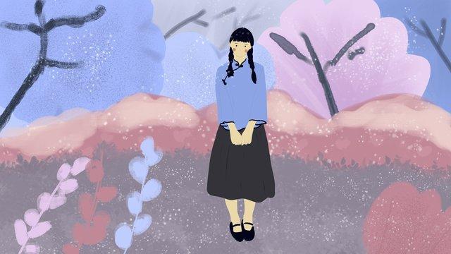 民国の学生の唯美のロマンチックな小さい清新な女の子唯美  女の子  学生 PNGおよびPSD illustration image