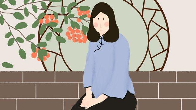 民国学生服の中山装の美人の手描きの挿し絵のウィーチャットはポスターを配合します中山服  ウィーチャット  手絵イラスト PNGおよびPSD illustration image