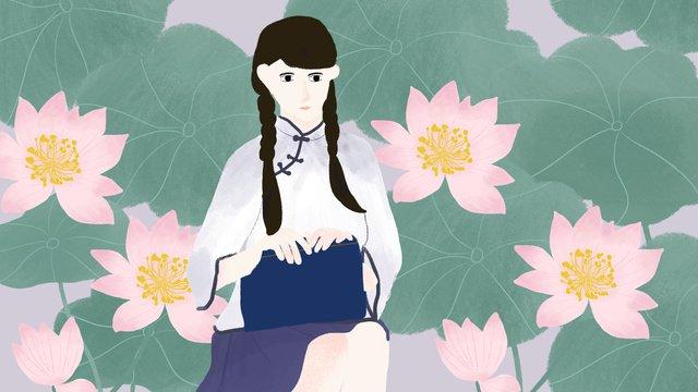 民国の学生服の中山装の美人の手はハスの花のハスの葉の挿し絵を描きます中山服  手絵  イラストの配置図 PNGおよびPSD illustration image