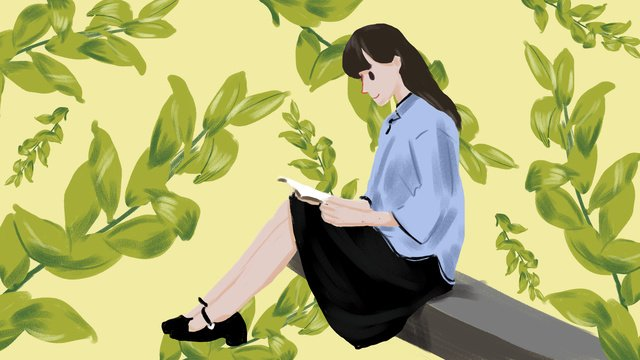 Republic of china female student reading book illustration, Republic Of China Student Costume, Female Student, Reading illustration image