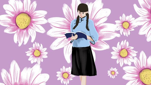 republic of china female student reading book illustration llustration image