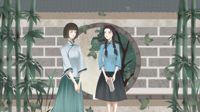 Republic of china retro female student illustration llustration image