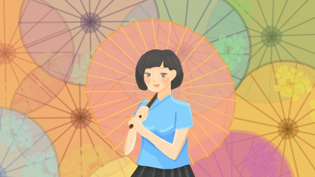 republic of china students wearing umbrella female llustration image