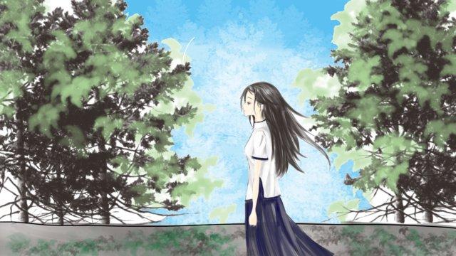 Republic of china female student llustration image illustration image