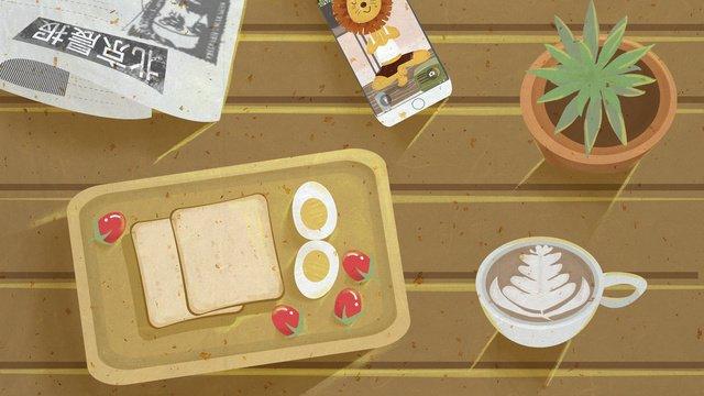 復古肌理おはようございます朝食オリジナルイラストです イラスト素材 イラスト画像