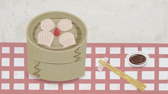 レトロテクスチャ食品シリーズ広東省朝茶エビ餃子イラスト イラスト素材