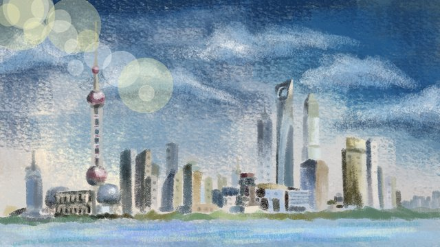 Hand-painted city - shanghai scenery architecture illustration, Retro Texture, The Weather, Sunny illustration image
