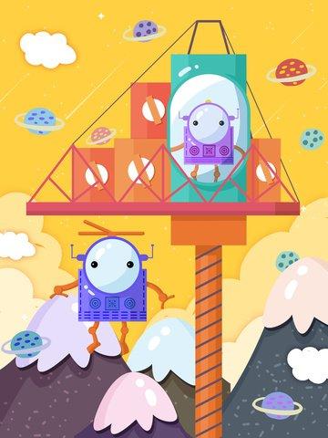 Artificial intelligence robot alien cartoon flat original illustration, Robot, Explore, Planet illustration image