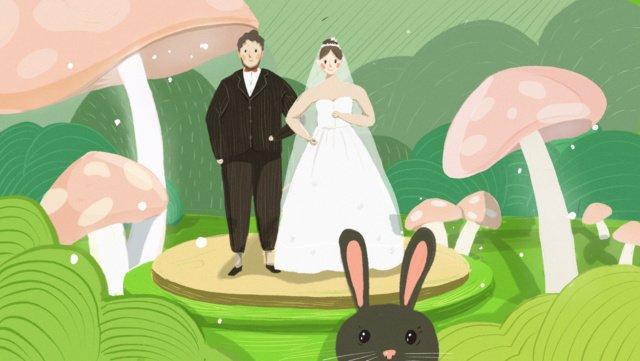 Wedding | hand drawn forest, Romantic, Beautiful, Wedding illustration image
