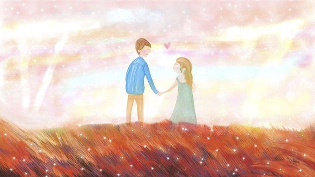 Autumn couple sunset romantic hand in wallpaper, Romantic, Couple, Autumn illustration image
