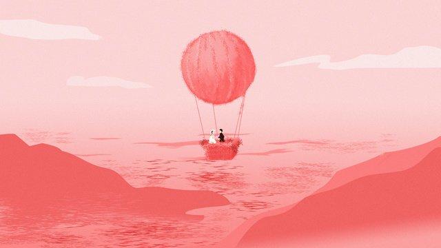 칠석 로맨틱 핑크 열기구 고백 원래 그림 그림 이미지