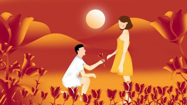 ロマンチックなプロポーズのシーン イラスト素材 イラスト画像