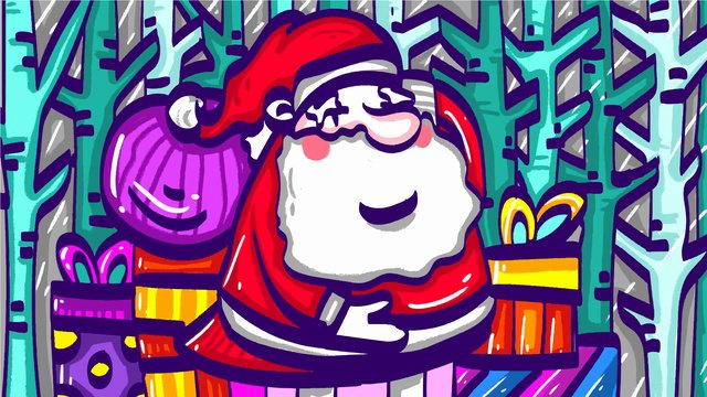 claus santa، رسم كاريكتوري، تصوير، إلى داخل، أقات أثناء الشتاء، forest مواد الصور المدرجة