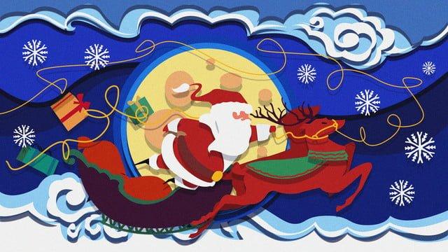 سانتا كلوز الرنة الزلاجة ورقة قطع نمط التوضيح مواد الصور المدرجة