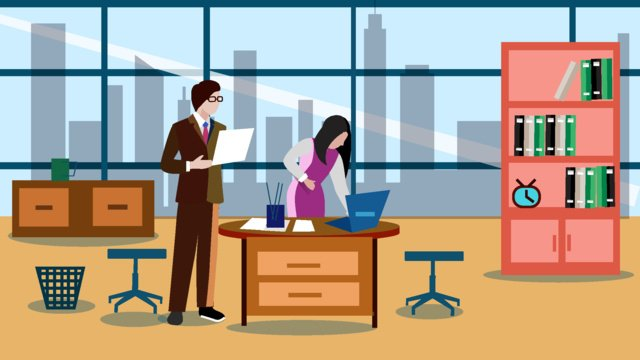 Office place character scene flat style illustration llustration image