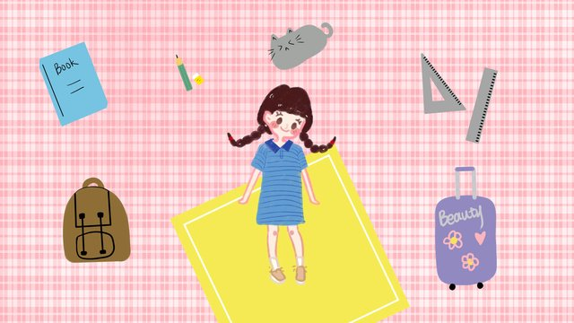 School season twist girl baggage, School Season, Baggage, Girl illustration image