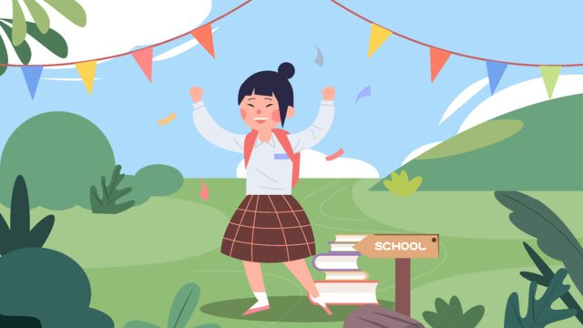 starting school classmates teenagers girls happy excited to go llustration image illustration image