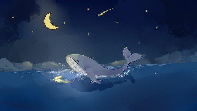海と大きなクジラの夜の図 イラスト素材 イラスト画像